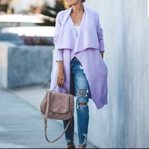 Vici Lavender Pocketed Knit Cardigan
